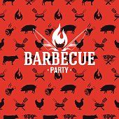 Barbecue icon on red seamless pattern, vector illustration