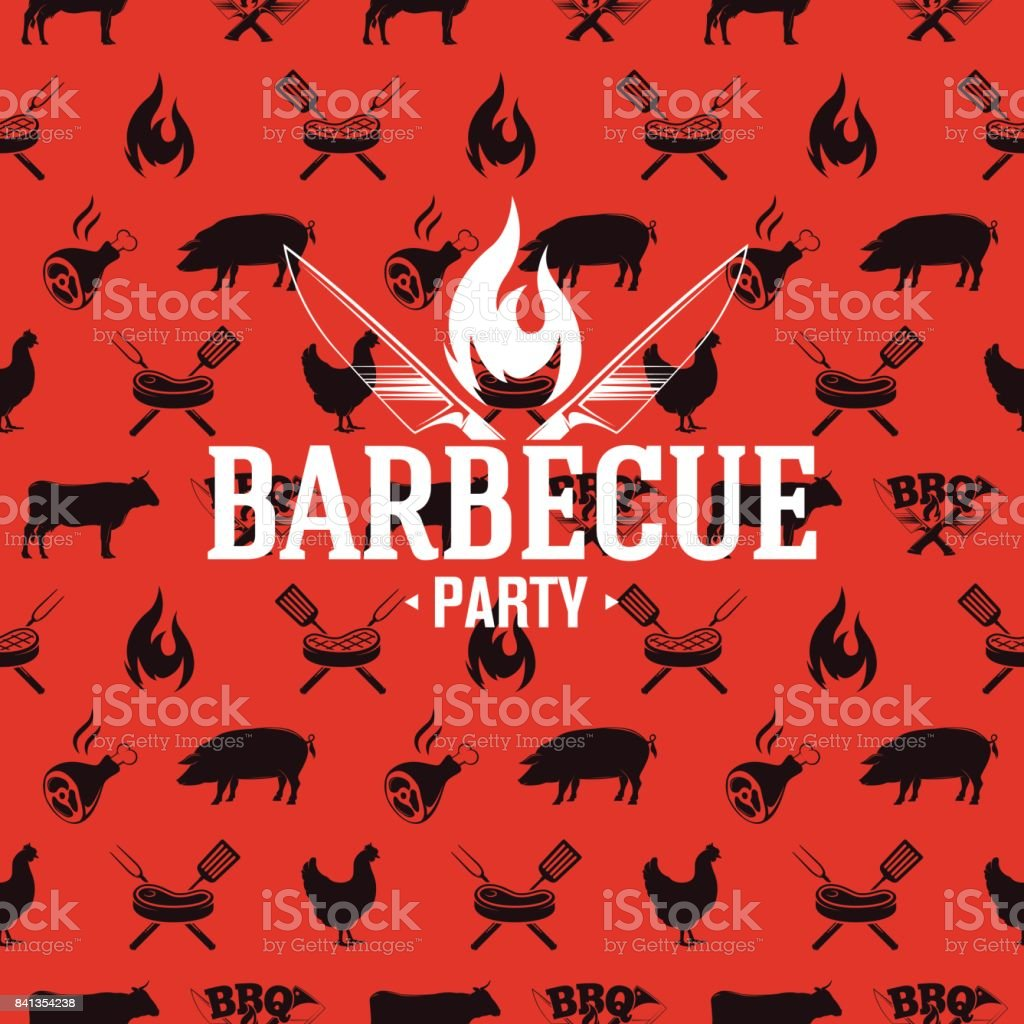 Barbecue icon on red seamless pattern, vector illustration vector art illustration