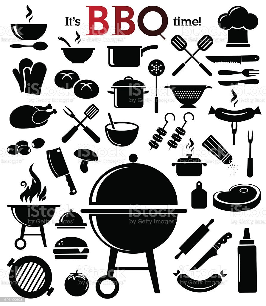 Barbecue icon set. - ilustración de arte vectorial