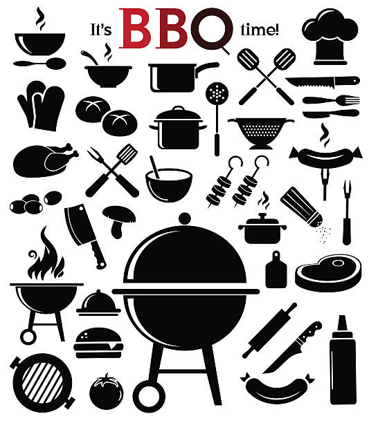 Barbecue icon set. vector art illustration