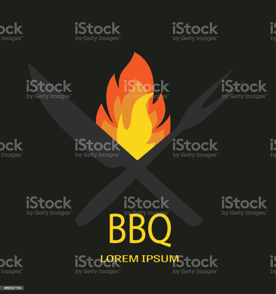 Barbecue icon  vector. BBQ fire knife and fork on black backround. royalty-free barbecue icon vector bbq fire knife and fork on black backround stock vector art & more images of backgrounds