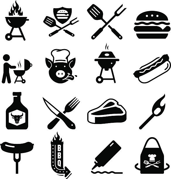 Barbecue Icons - Black Series BBQ, grilling, and tailgating icon set.  Professional clip art for your print or Web project. See more icons in this series. cooking clipart stock illustrations