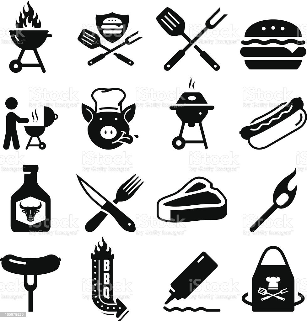 Barbecue Icons - Black Series vector art illustration