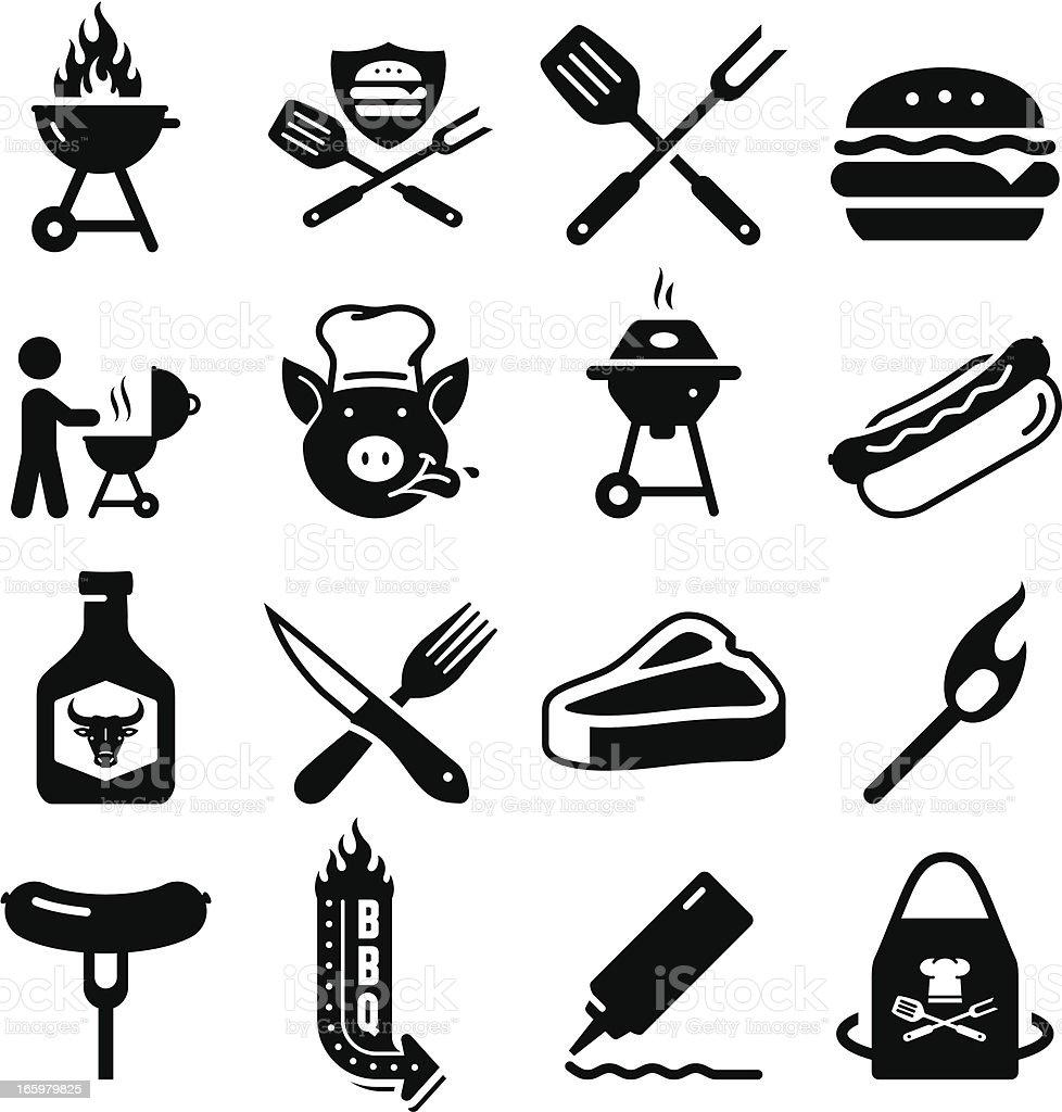 Barbecue serie di icone-nero - illustrazione arte vettoriale