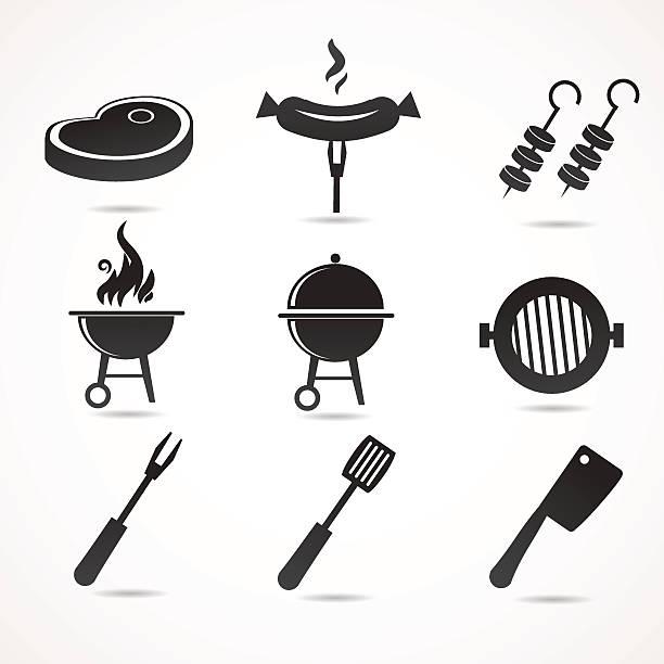 barbecue-icons isoliert auf weißem hintergrund. - roastbeef stock-grafiken, -clipart, -cartoons und -symbole