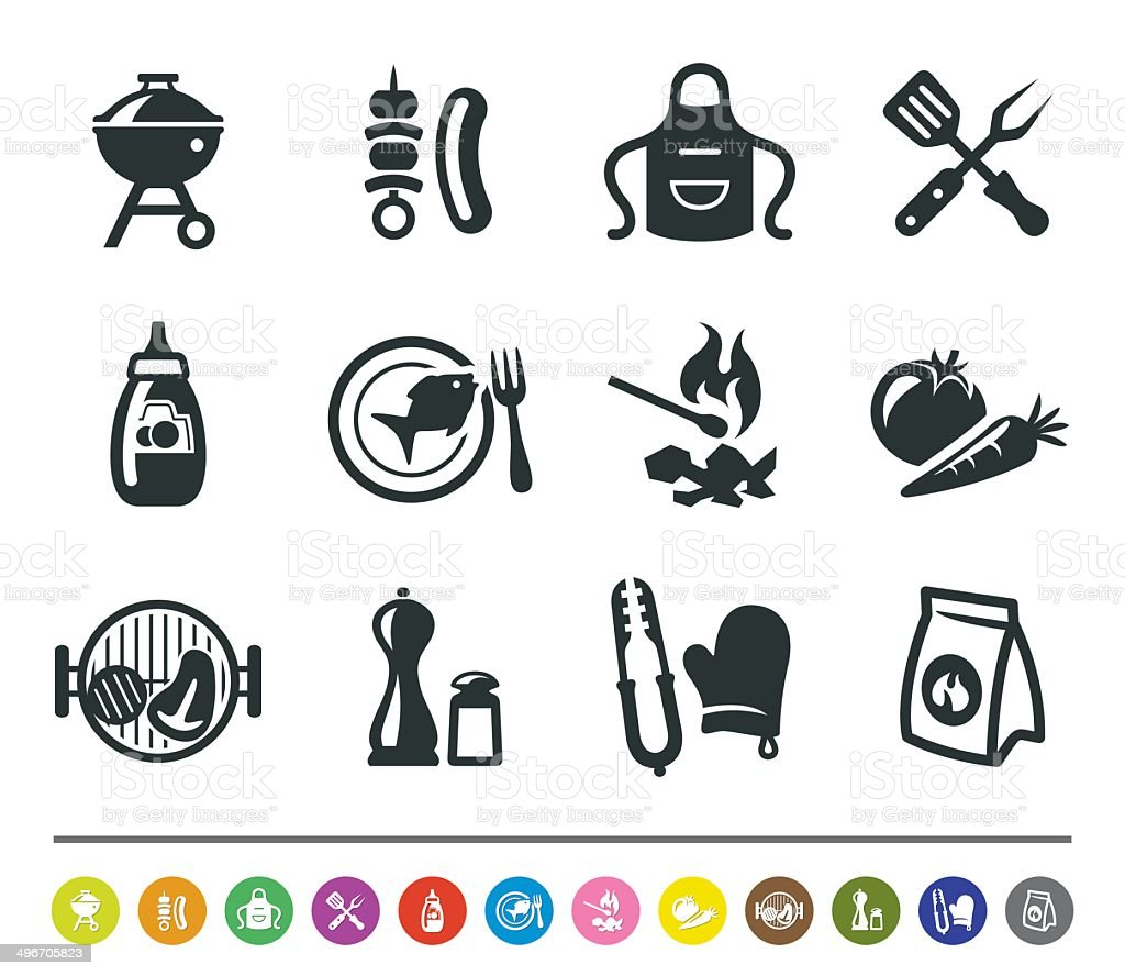 Barbecue icons | siprocon collection vector art illustration