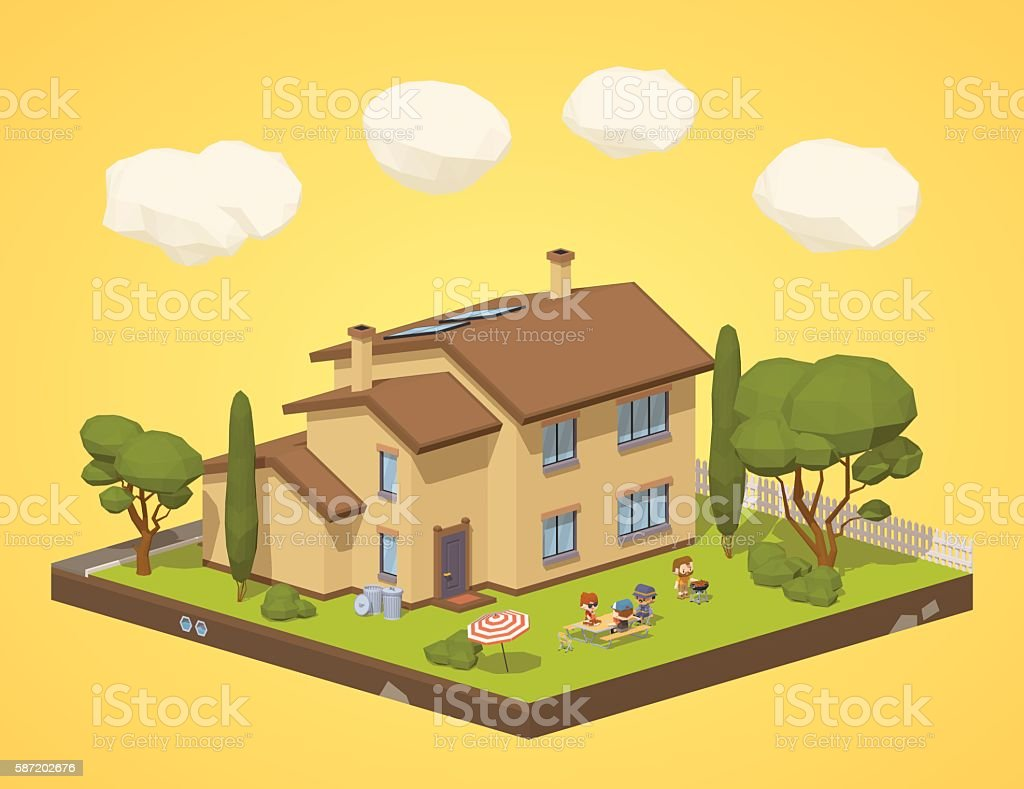Barbecue in the backyard vector art illustration