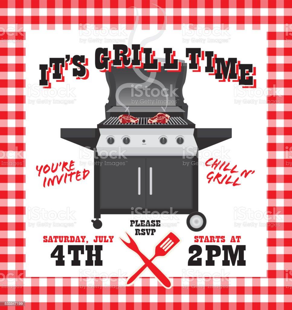 bbq barbecue invitation design template on picnic background stock