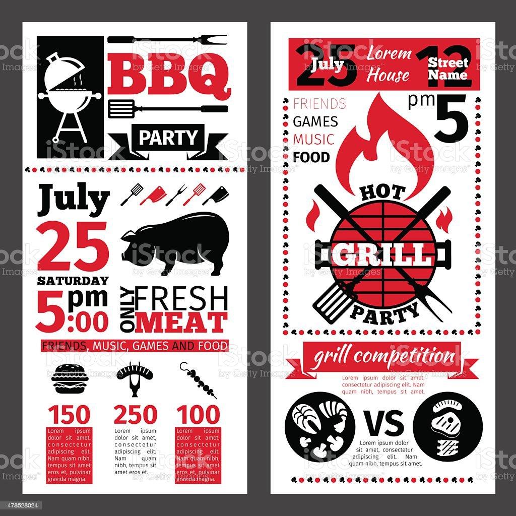 barbecue invitation vector art illustration