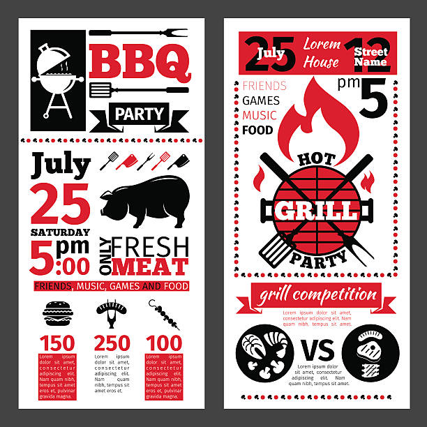 barbecue invitation vector art illustration