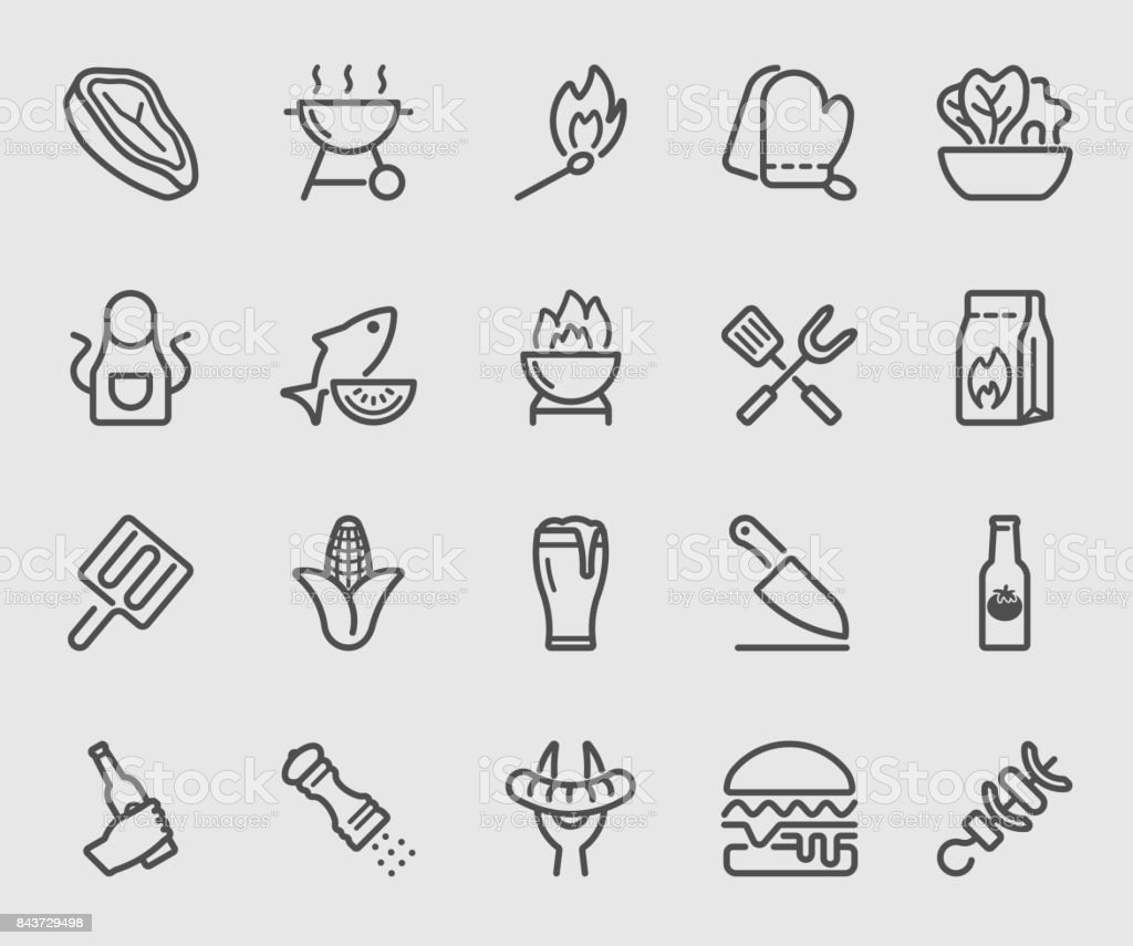 Barbecue line icon vector art illustration