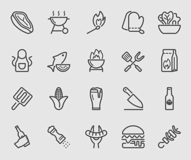 barbecue line icon - grilling stock illustrations
