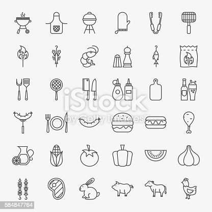 Barbecue Line Icons Big Set. Vector Collection of Modern Thin Outline Grill Picnic Symbols.