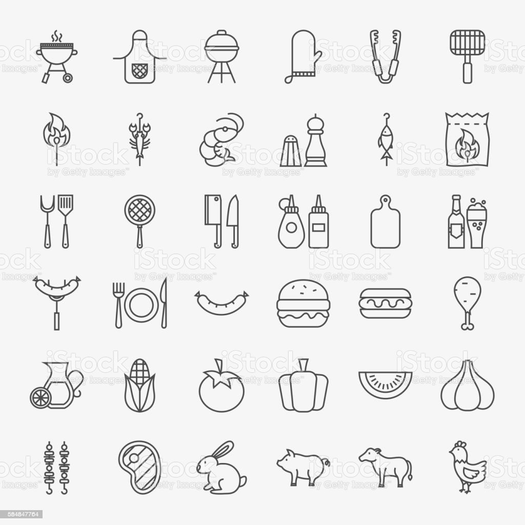 Barbecue Line Icons Big Set vector art illustration