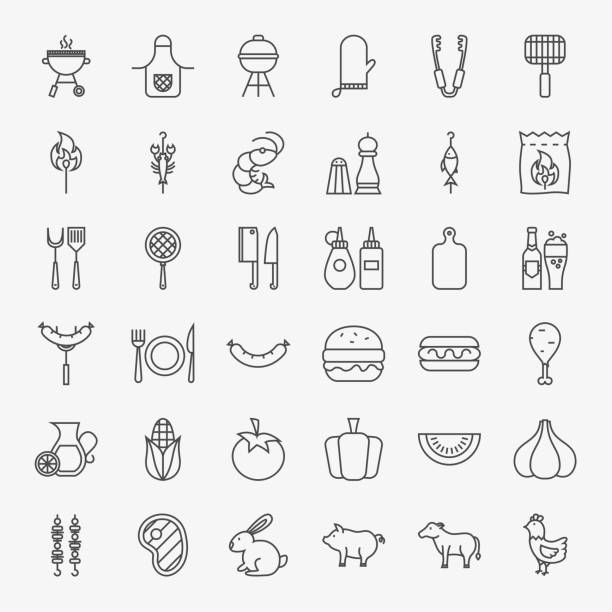 barbecue line icons big set - grilling stock illustrations