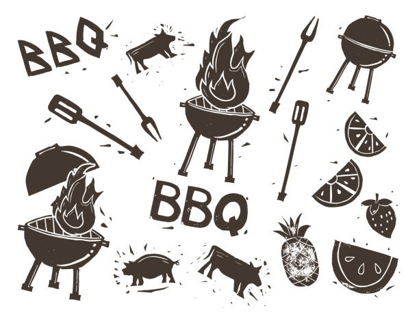 Barbecue Linocut Stamps Set of cute stamps made from hand-carved linocut block prints. linocut stock illustrations