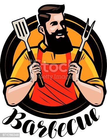 ᐈ Imagen De Bbq Barbacoa Logo O Etiqueta Chef O Cocinero