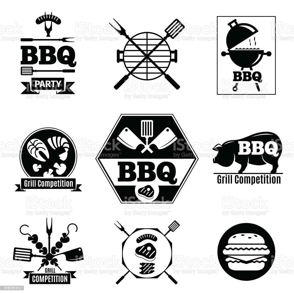 Barbecue logo set vector art illustration