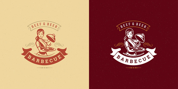 Barbecue logo vector illustration grill steak house or bbq restaurant menu emblem waitress with dish silhouette