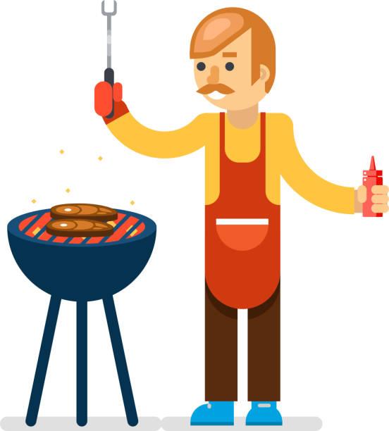 Barbecue man cook isolated background vector illustration - illustrazione arte vettoriale