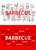 Barbecue grill meat poster and sausages line icons. Vector BBQ restaurant, steak house or bar menu of beefsteak, pork or beef T-bone and chicken with burger, mutton ribs and beer