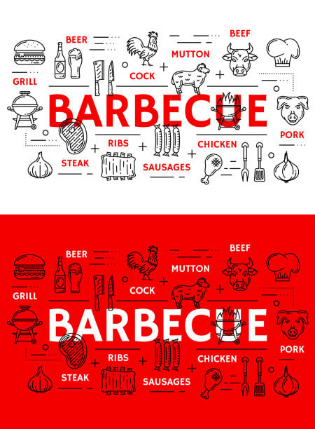 barbecue meat and sausages grill line icons - delis stock illustrations