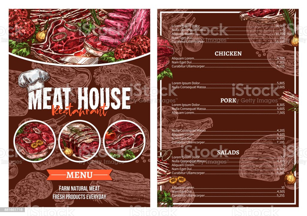 Barbecue Meat Menu For Restaurant Brochure Design Stock