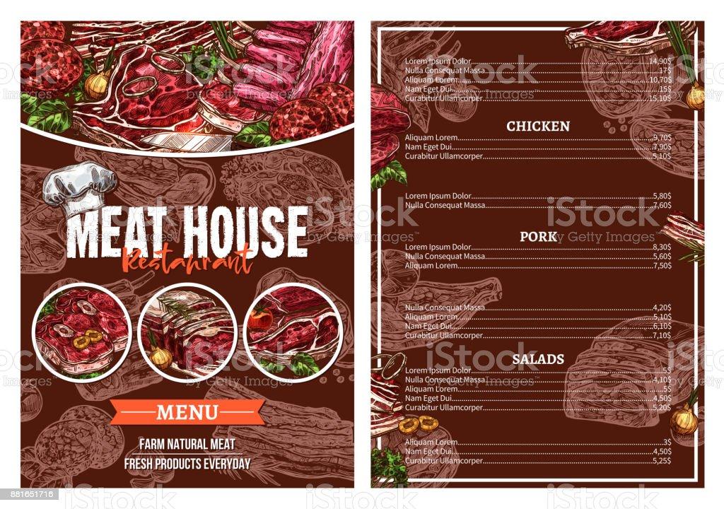 Barbecue meat menu for restaurant brochure design vector art illustration