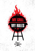 Barbecue Meat On Fire Menu Vector Design Element. Outdoor Meal Creative Rough Sign On Grunge Stained Background.