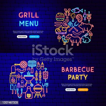 Barbecue Neon Banners. Vector Illustration of Grill Promotion.