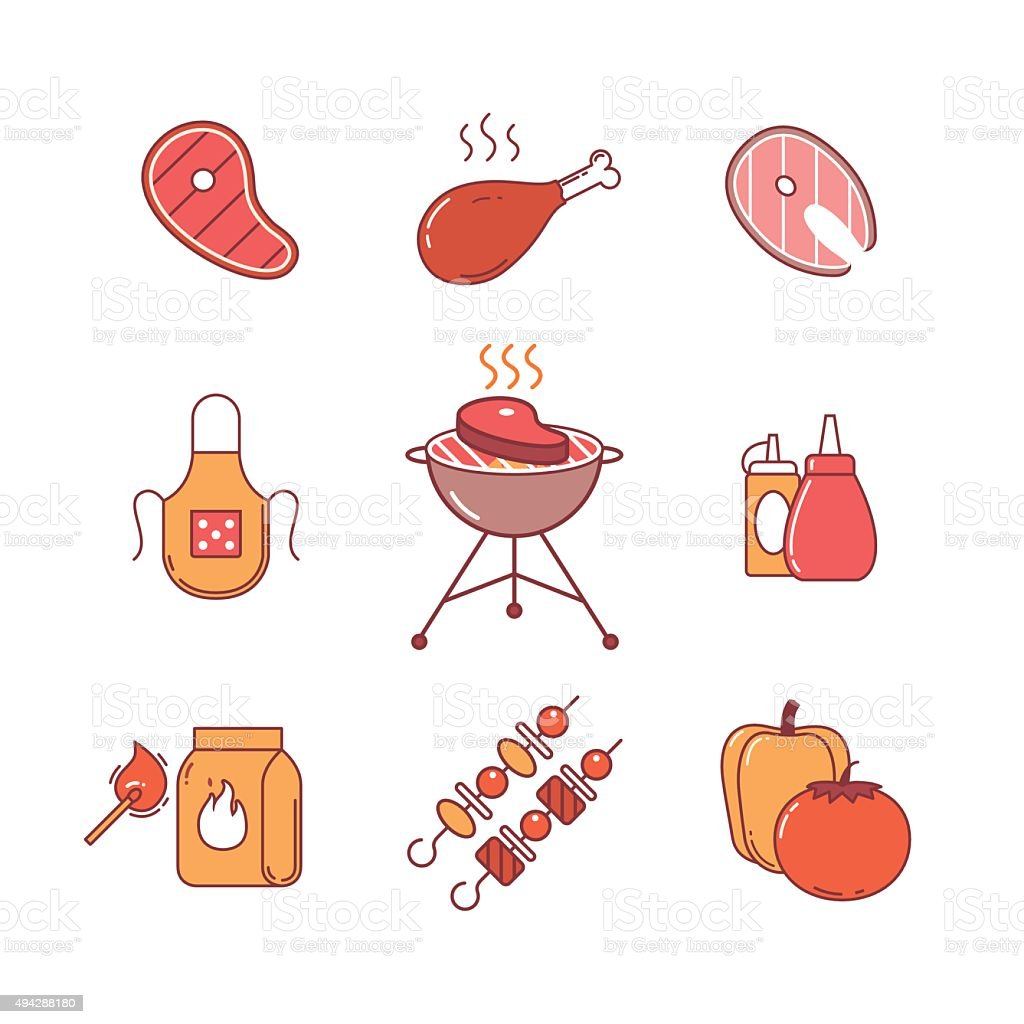 Barbecue, outdoor meat and fish steak grill frying vector art illustration