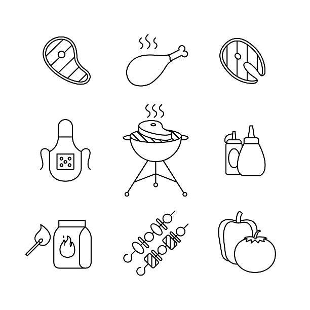 barbecue im freien, fleisch und fisch steak grill - roastbeef stock-grafiken, -clipart, -cartoons und -symbole
