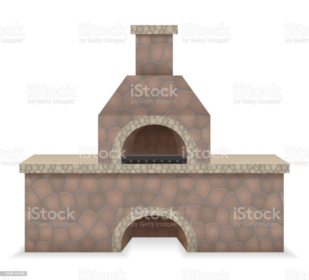 grill ofen aus stein gebaute vektorillustration stock vektor art und