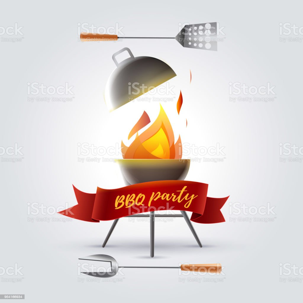 Barbecue party. Barbecue meals vector art illustration
