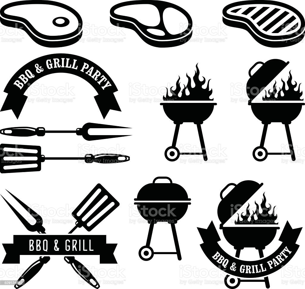 Barbecue party - bbq and grill elements vector art illustration