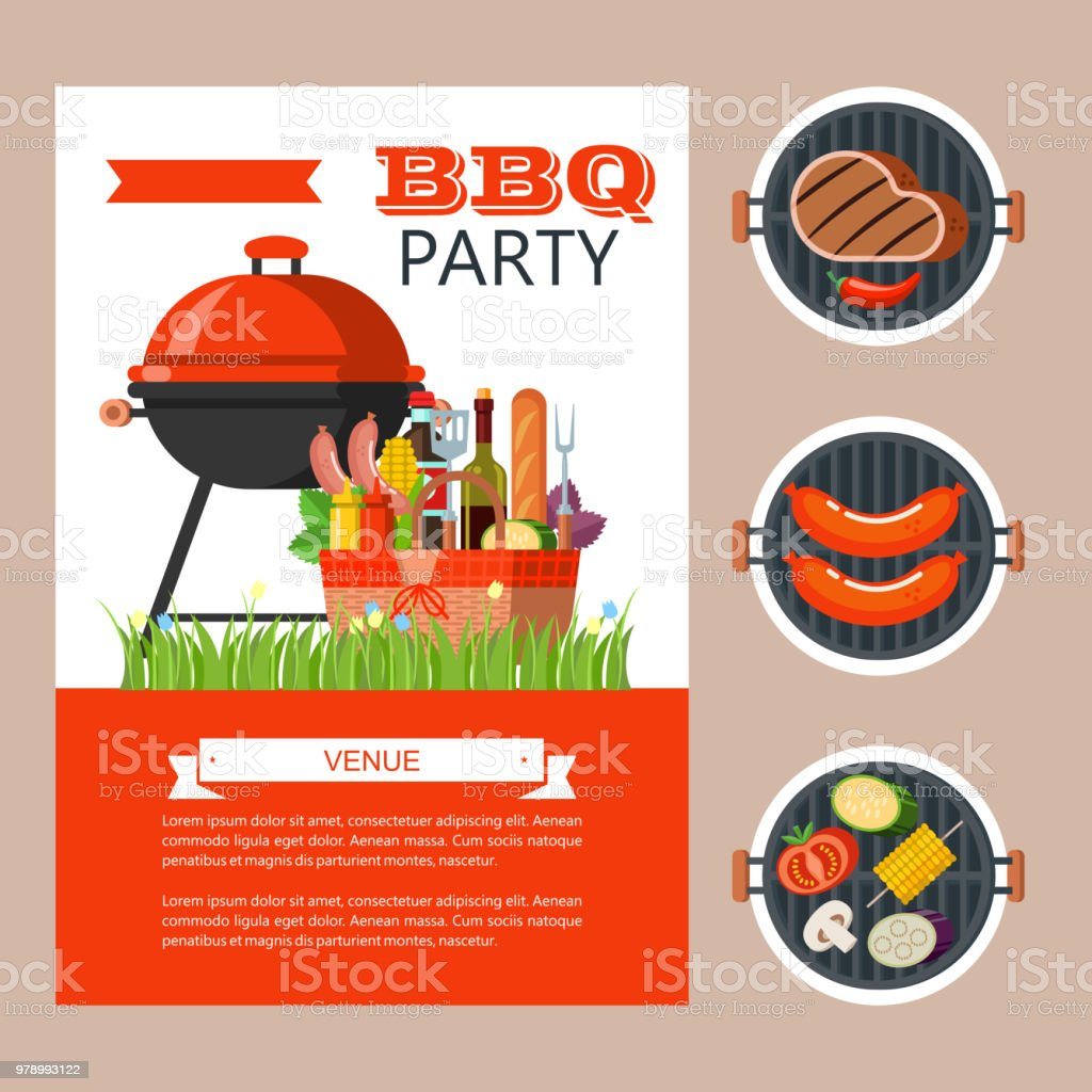 barbecue party colorful invitation vector illustration stock vector