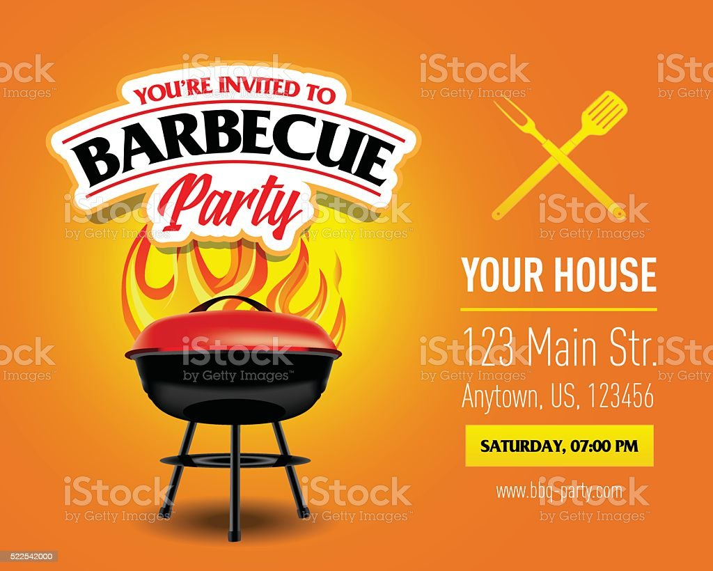 Barbecue party design template, Barbecue invitation. vector art illustration