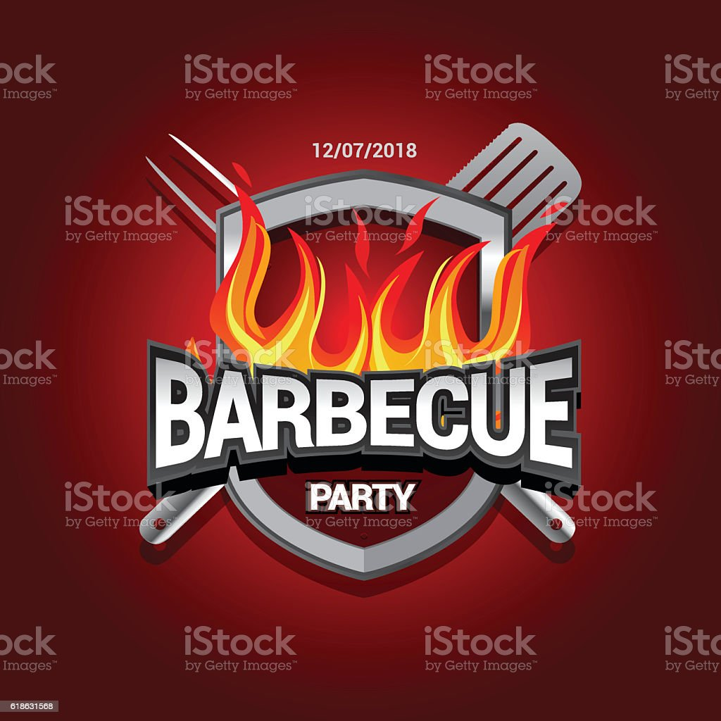 Barbecue party design with fire on shield, Barbecue invitation. vector art illustration