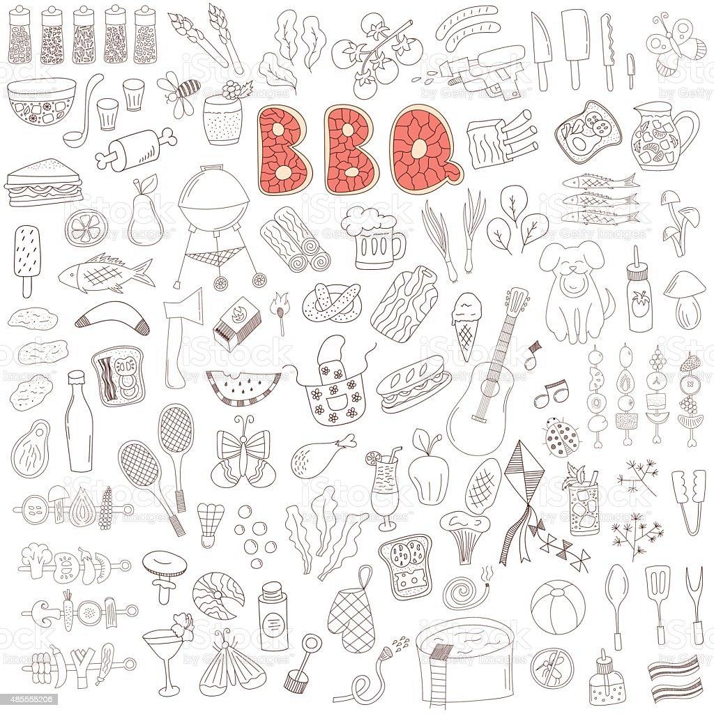 barbecue doodle éléments - Illustration vectorielle