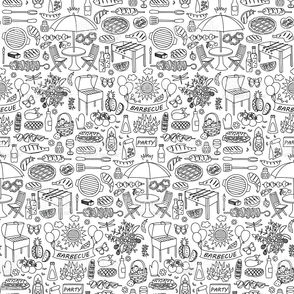 Barbecue Doodle motif sans couture. - Illustration vectorielle