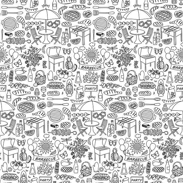 のバーベキューパーティー落書きシームレスなパターン - ピクニック点のイラスト素材/クリップアート素材/マンガ素材/アイコン素材
