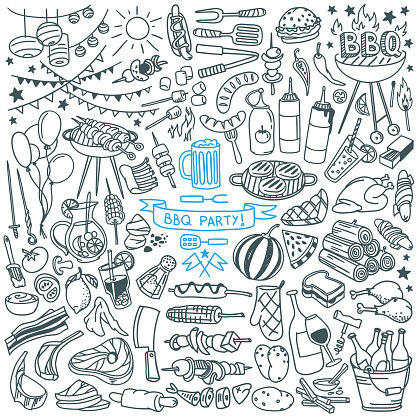 Barbecue party doodle set. Food, drinks, ingredients and decoration elements.