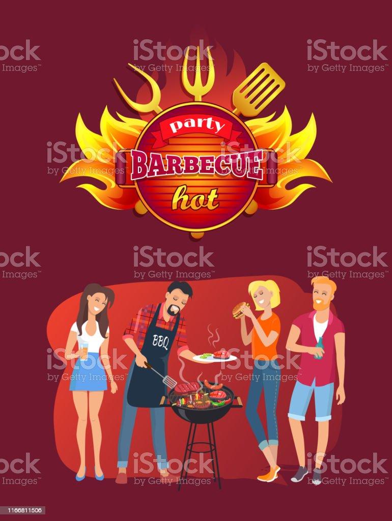 Grillfest emblem och vänner runt grillen - Royaltyfri Amerikansk kultur vektorgrafik