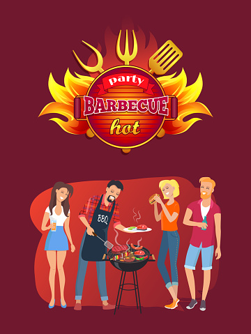 Grillfest Emblem Och Vänner Runt Grillen-vektorgrafik och fler bilder på Amerikansk kultur