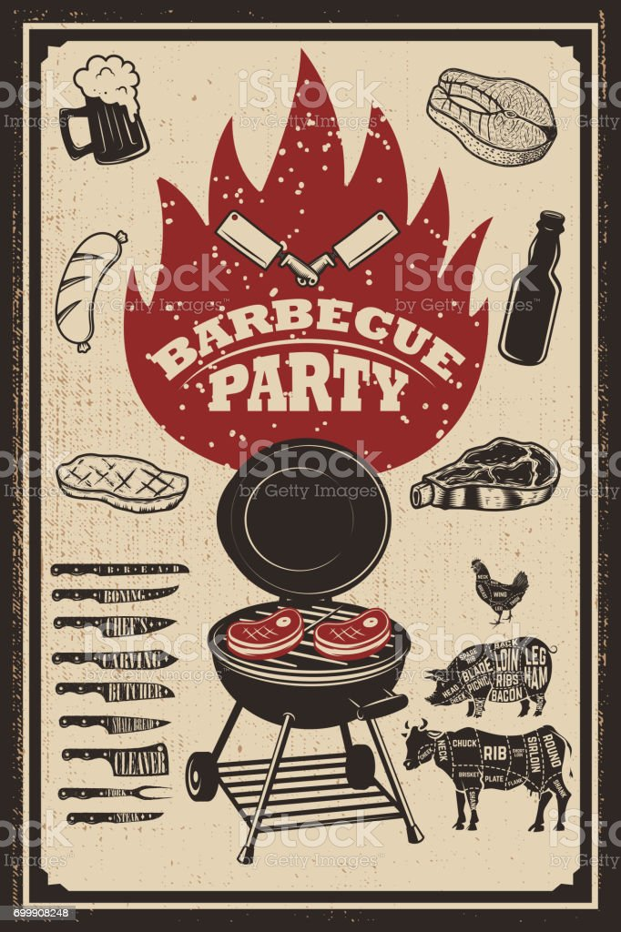 Barbecue party flyer template. Grill, fire, grilled meat, beer, butcher tools. Design elements for poster, restaurant menu. Vector illustration vector art illustration