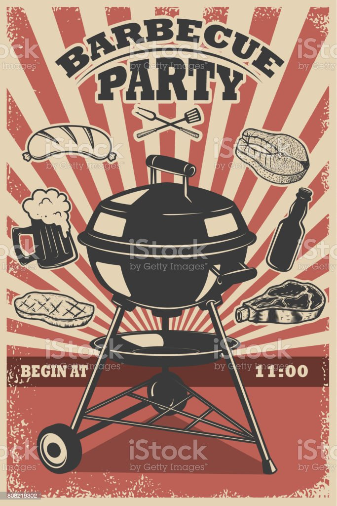 barbecue party flyer template grill fire grilled meat beer butcher