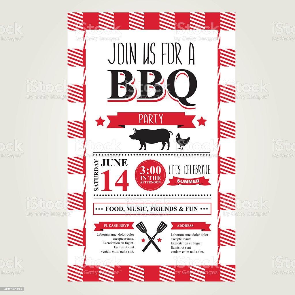 Barbecue party invitation, bbq brochure menu design. vector art illustration