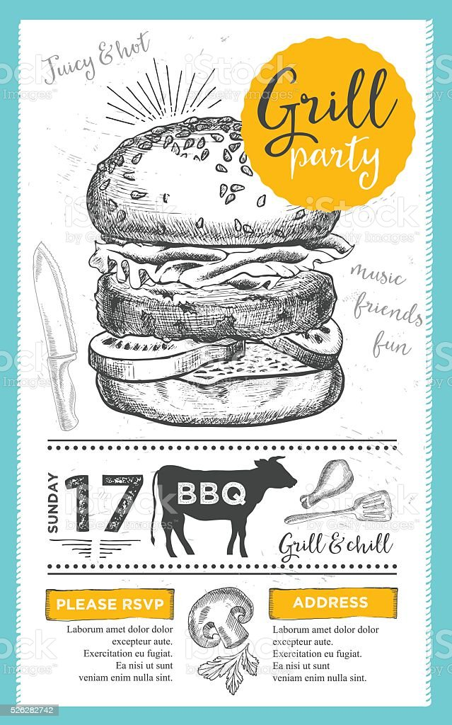 Barbecue Party Einladung. BBQ Vorlage Erstellen. Essen Flyer. Lizenzfreies