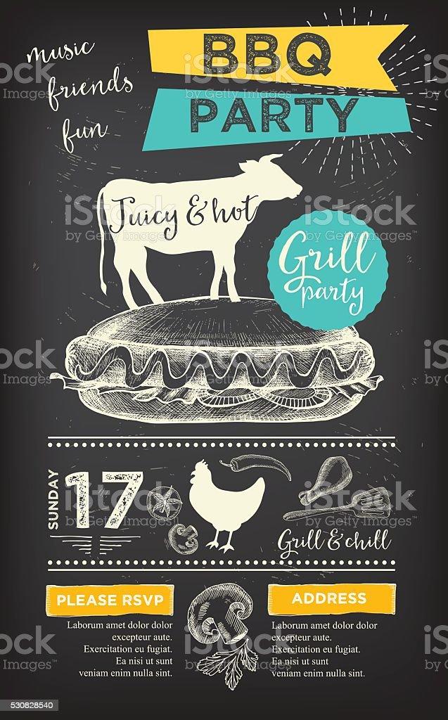 barbecue party invitation bbq template menu design food flyer stock