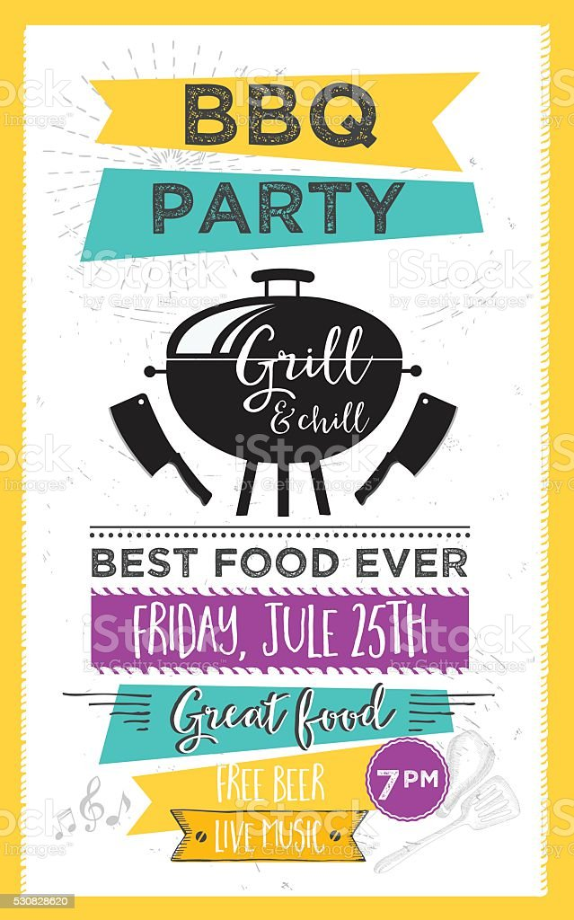 Barbecue party invitation. BBQ template menu design. Food flyer.​​vectorkunst illustratie